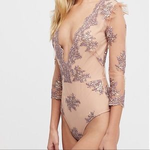 NWT For Love and Lemons Amber Scallop Bodysuit XS